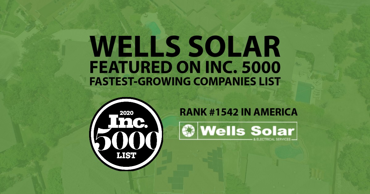 Inc 5000 2020 Award Wells Solar Texas